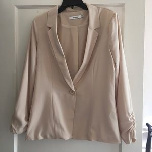 Just Fab Cream One Button Blazer w/Ruched Sleeves
